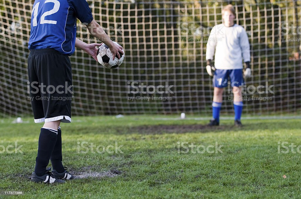 Football player are ready for penalty shoot out royalty-free stock photo