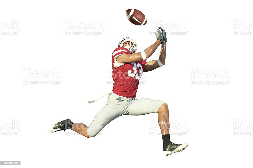 Football Player Catching a Ball stock photo