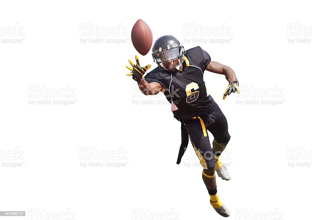Football Player Diving to Catch The Ball on White Background. stock photo