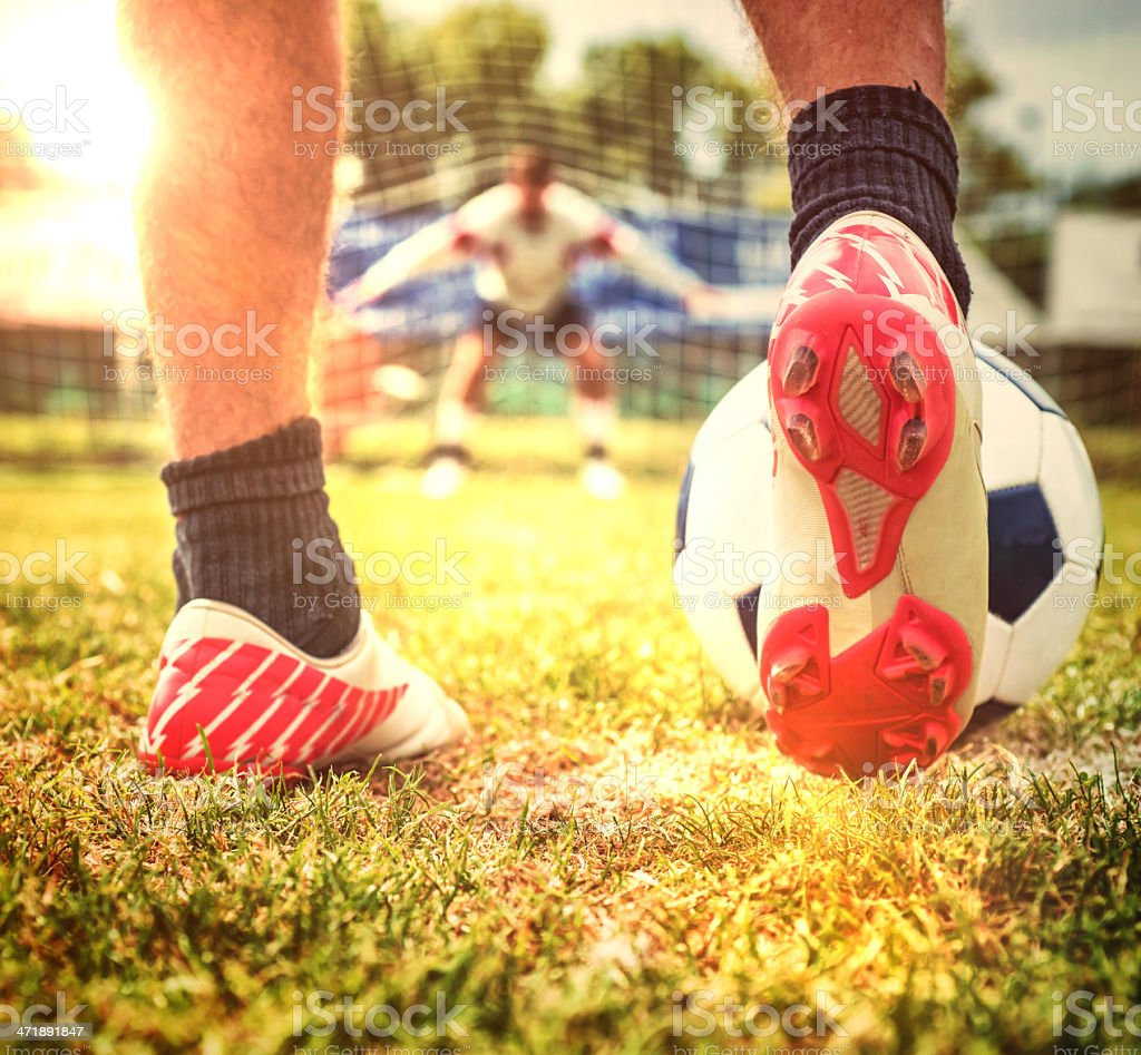 Football Player Kicking a Penalty royalty-free stock photo