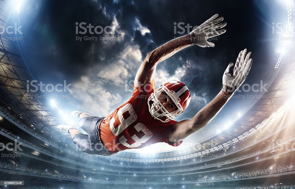 Football player missed a ball stock photo