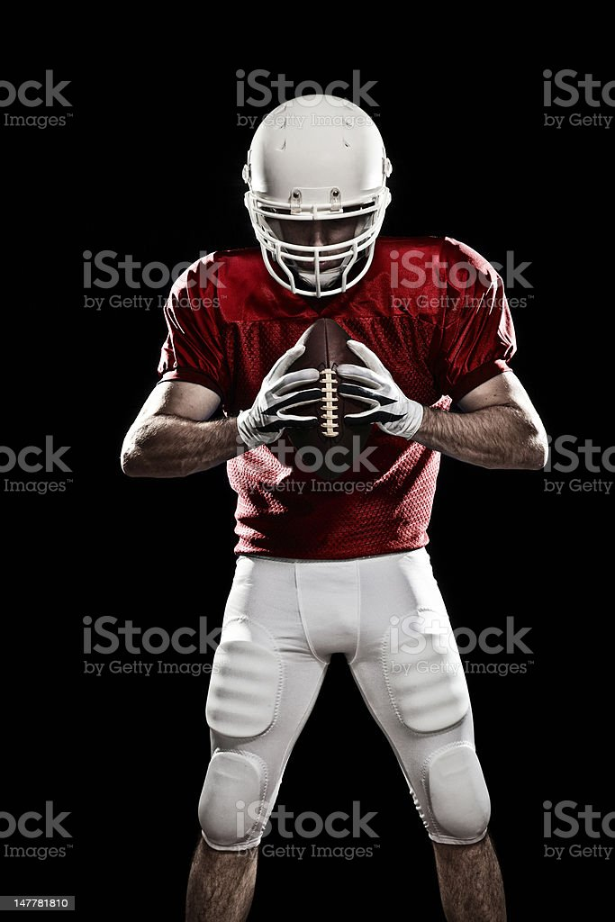 A football player ready to play stock photo