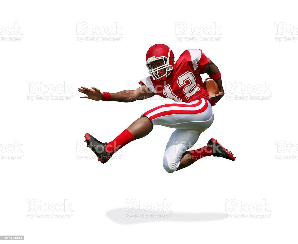 Football Player Running and Jumping with Clipping Path stock photo