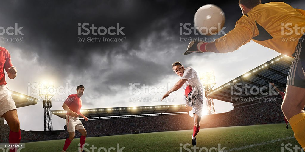 Football Player Scores stock photo