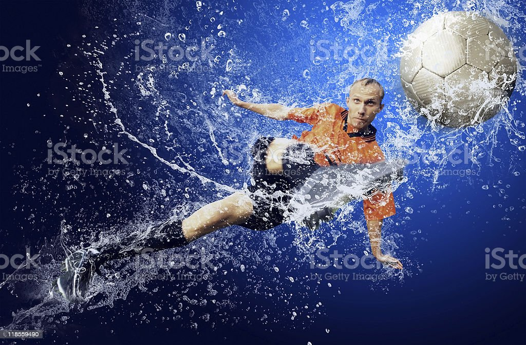 Football player under water royalty-free stock photo