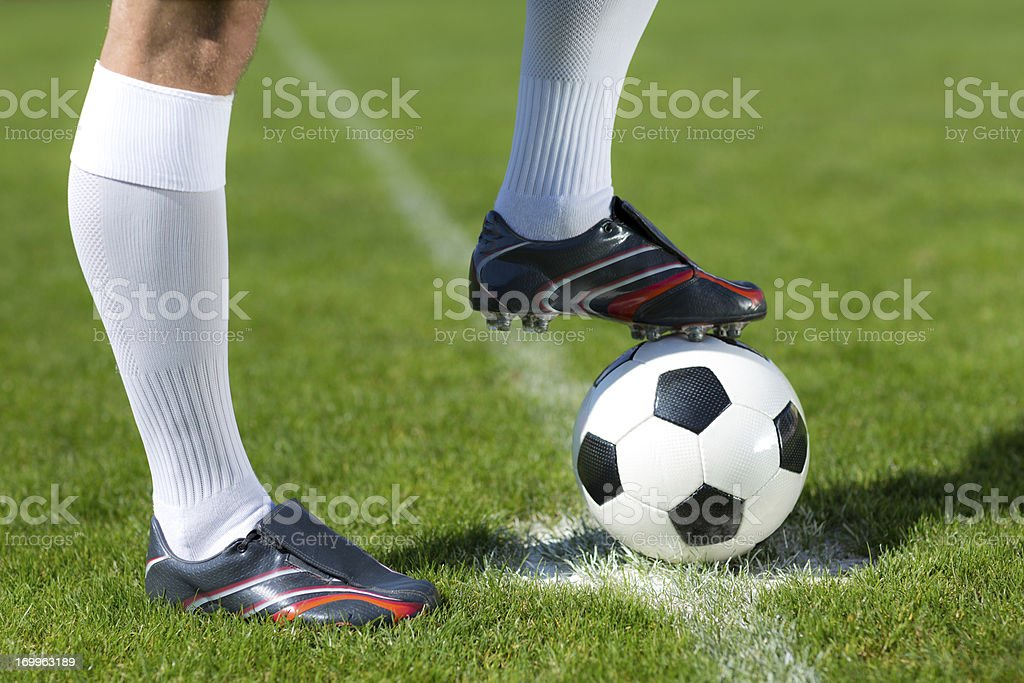 football player waiting for kick-off close up stock photo
