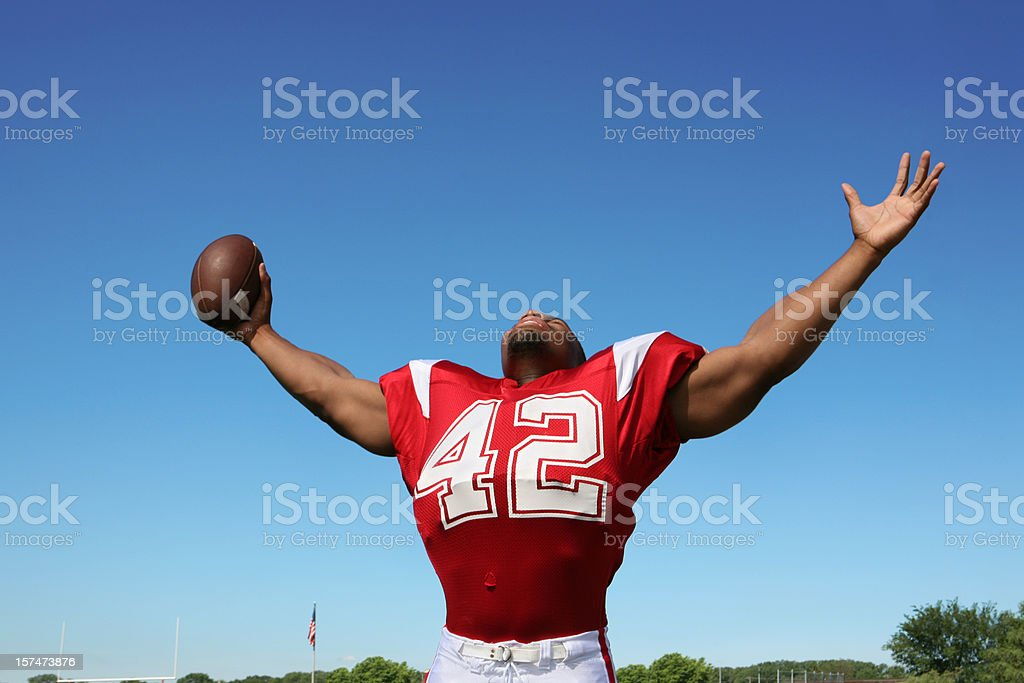 Football Player with Arms Outstretched royalty-free stock photo