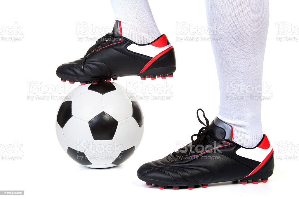 Football player with ball on white stock photo