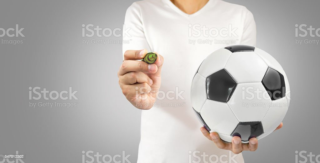 football player with ideas stock photo