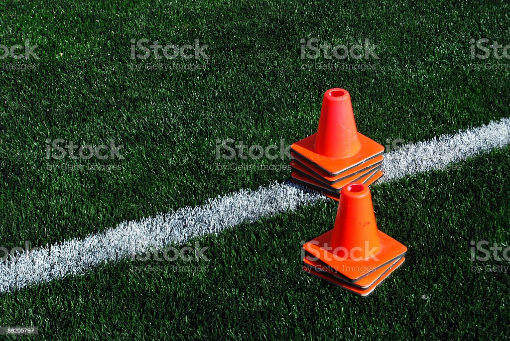 Football Practice Cones royalty-free stock photo