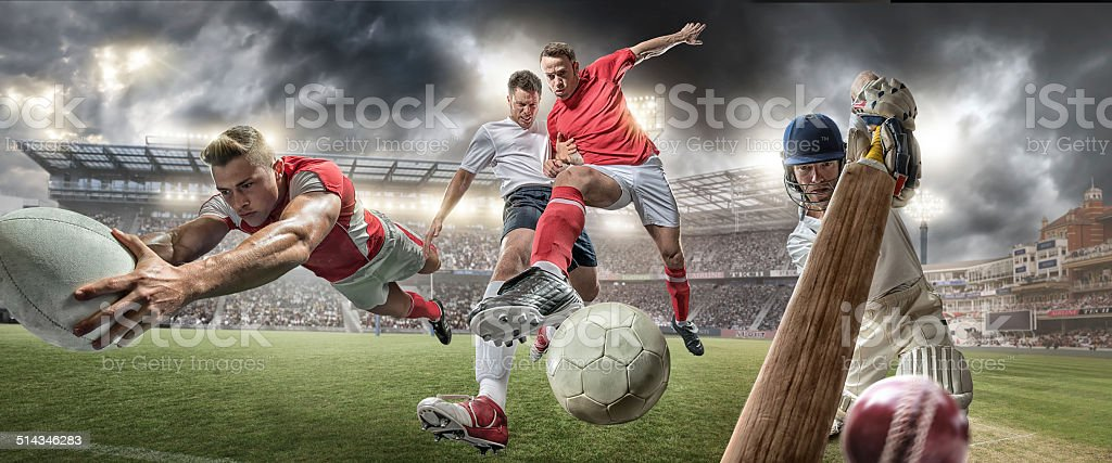 Football Rugby Cricket Action stock photo