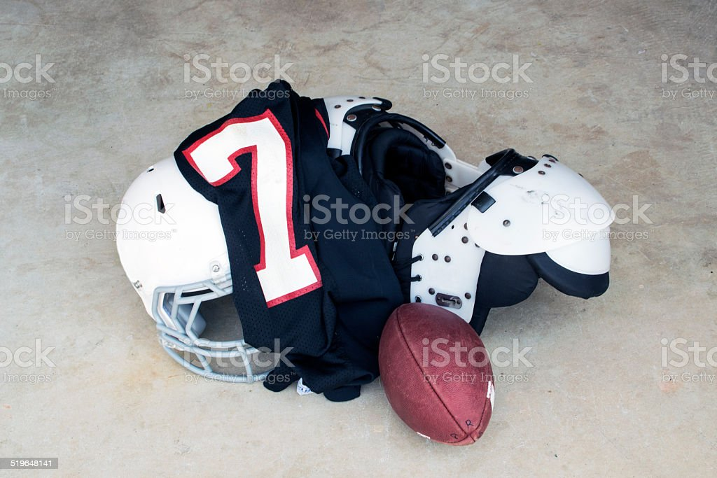 Football Safety Gear and Uniform Number 7 stock photo