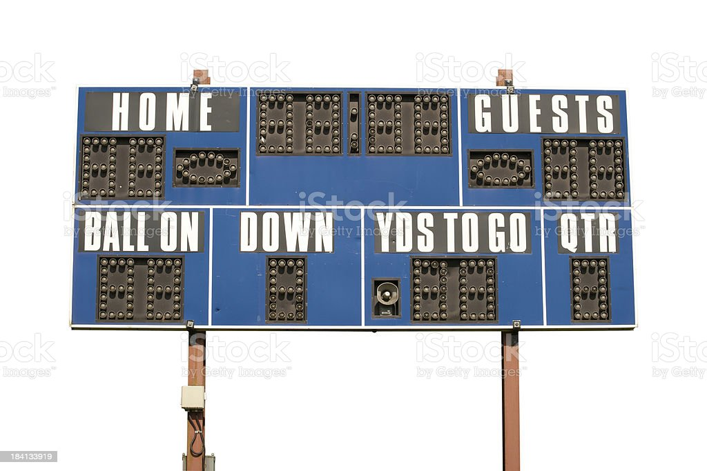 Football Scoreboard Isolated on White stock photo