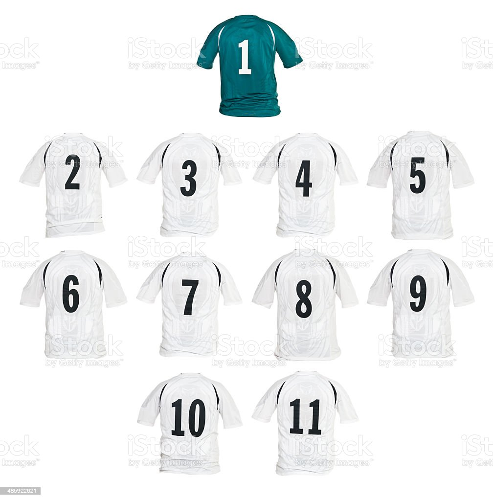Football shirts formed as a team stock photo