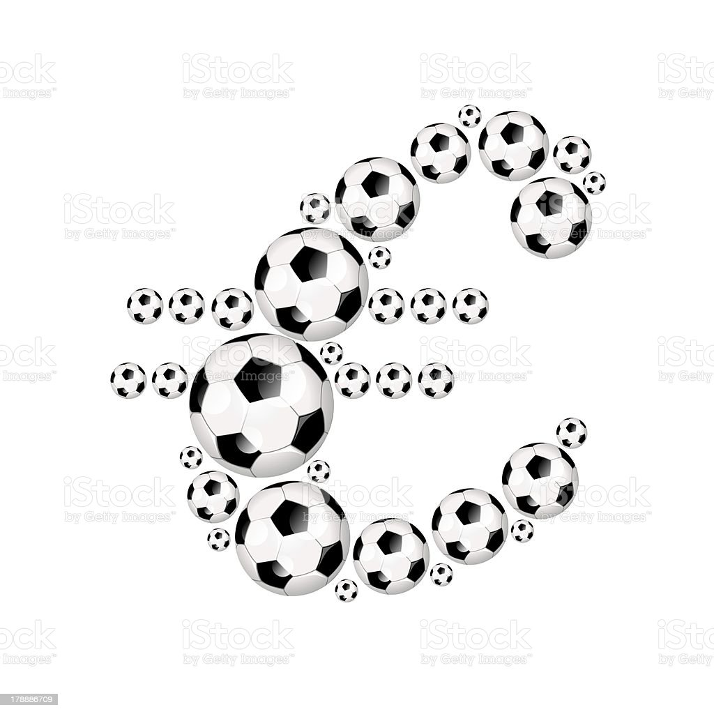 Football, soccer alphabet currency symbol € royalty-free stock photo