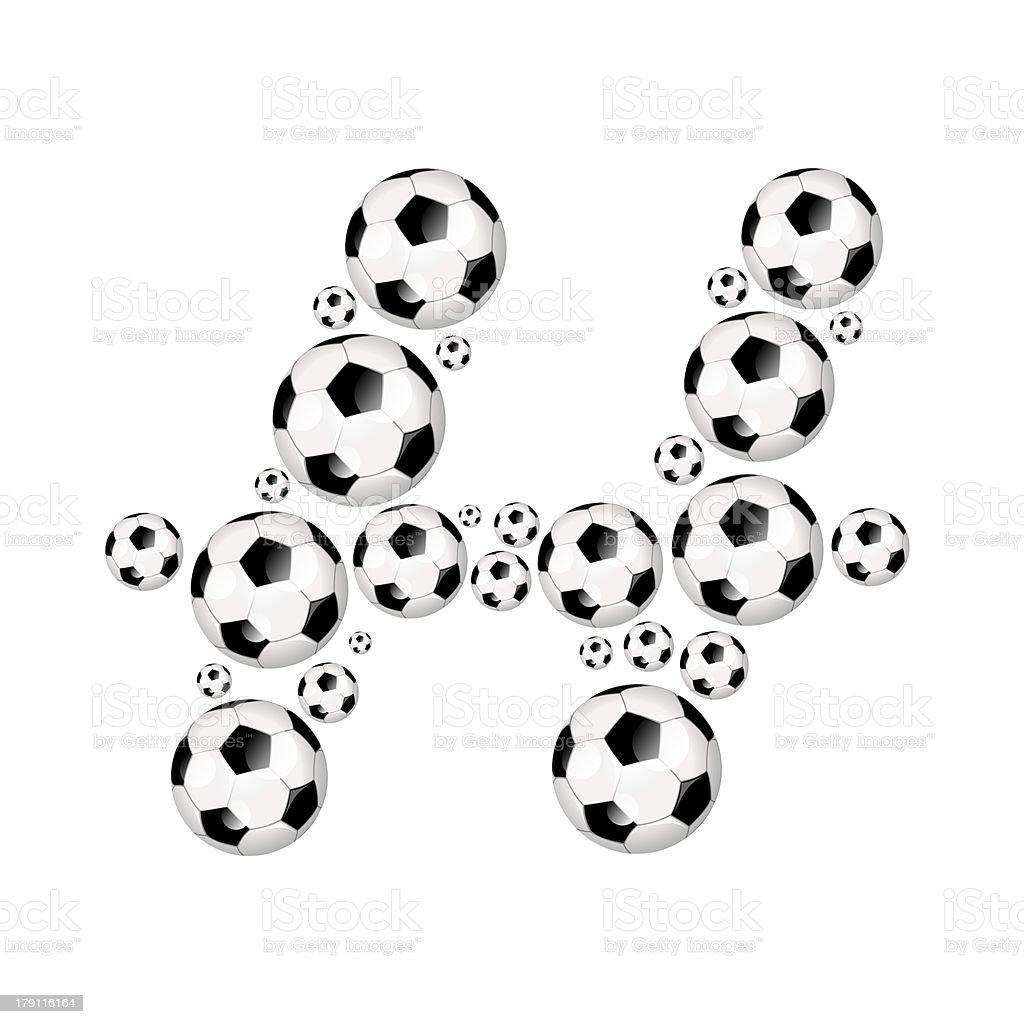 Football, soccer alphabet letter H royalty-free stock photo