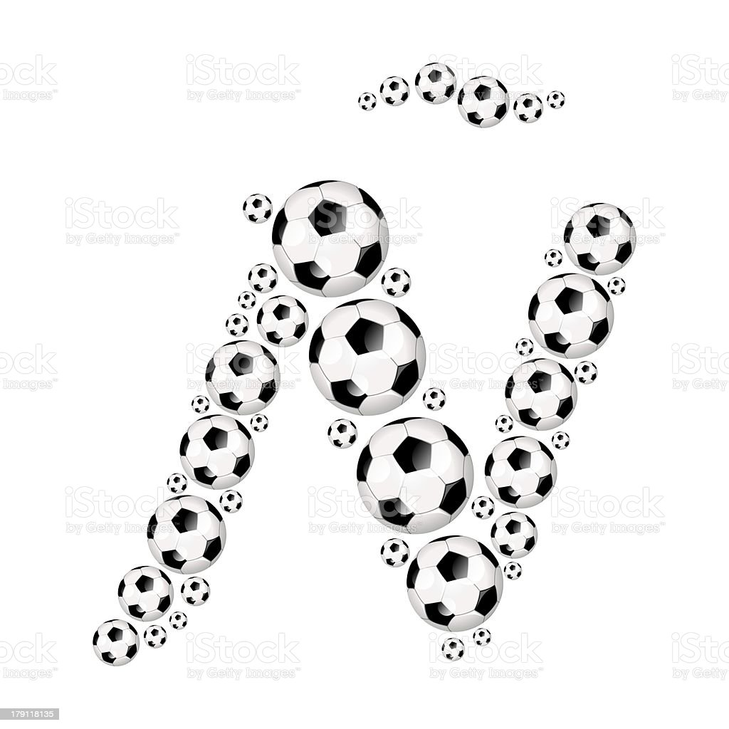 Football, soccer alphabet letter Ñ royalty-free stock photo