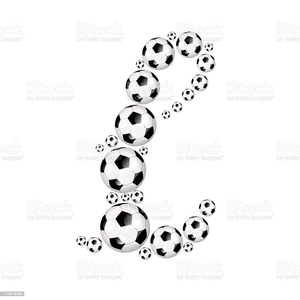 Football, soccer alphabet lowercase letter l royalty-free stock photo