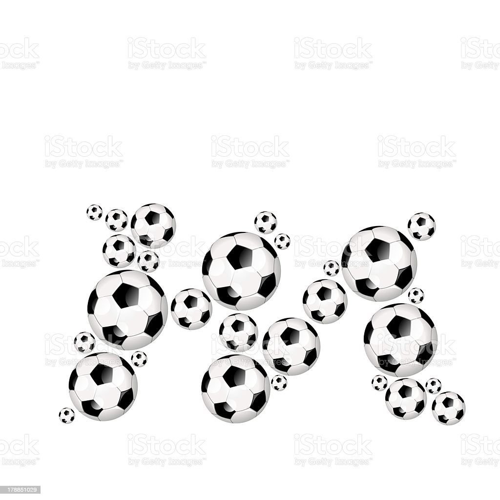 Football, soccer alphabet lowercase letter m royalty-free stock photo