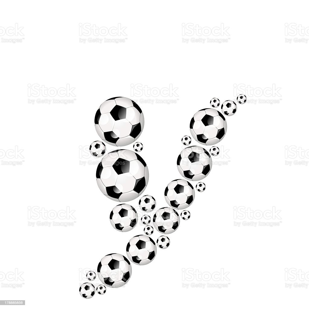 Football, soccer alphabet lowercase letter y royalty-free stock photo