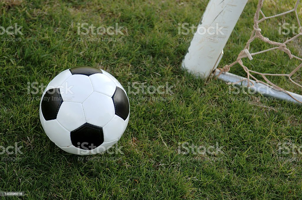 Football - Soccer ball and Goal royalty-free stock photo