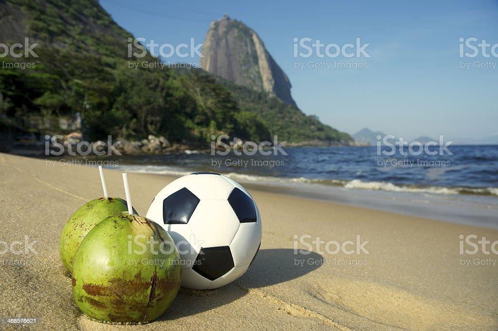 Football Soccer Ball with Fresh Coconut Rio Beach stock photo