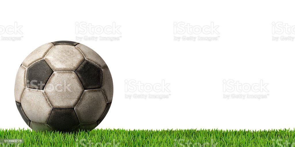 Football - Soccer Ball with Green Grass stock photo