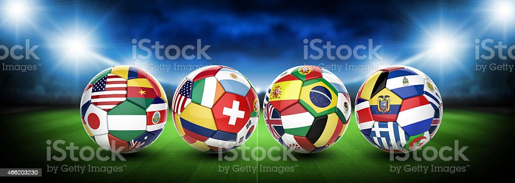 3D football soccer ball with nations teams flags stock photo
