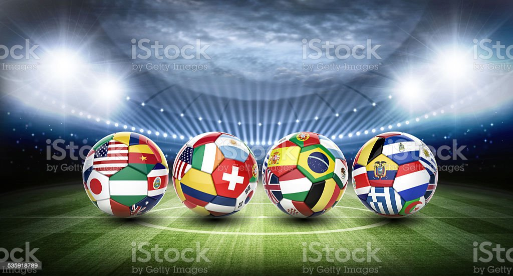 football soccer ball with nations teams flags stock photo