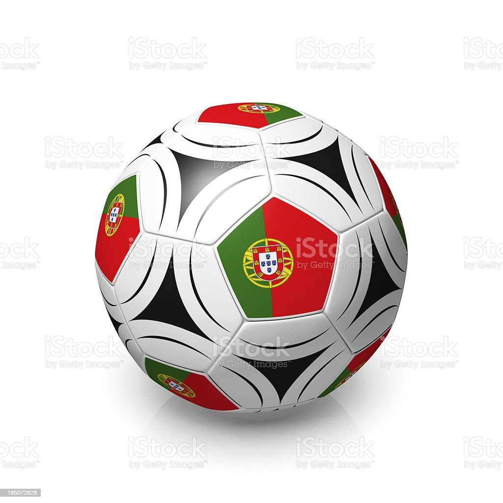 Football / soccer ball with Portugese flags, isolated on white royalty-free stock photo