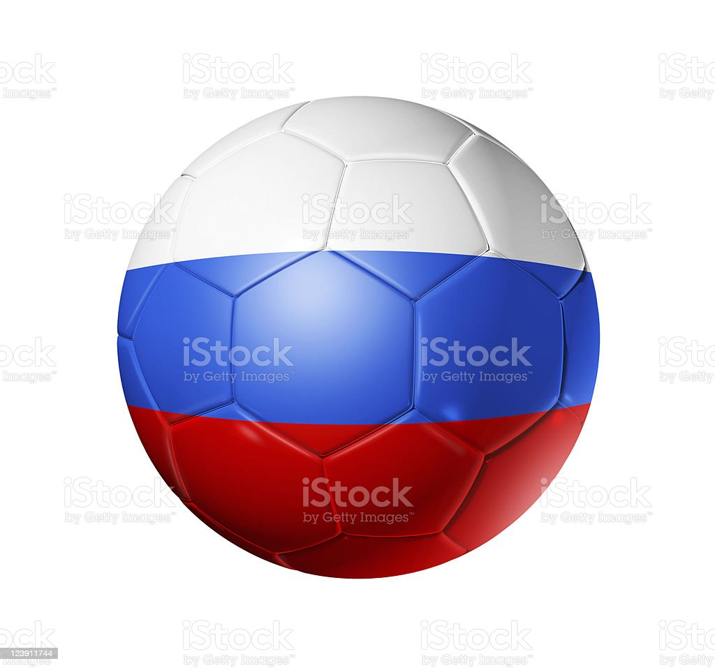 football soccer ball with Russia flag royalty-free stock photo