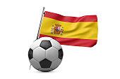 Football soccer ball with Spain flag