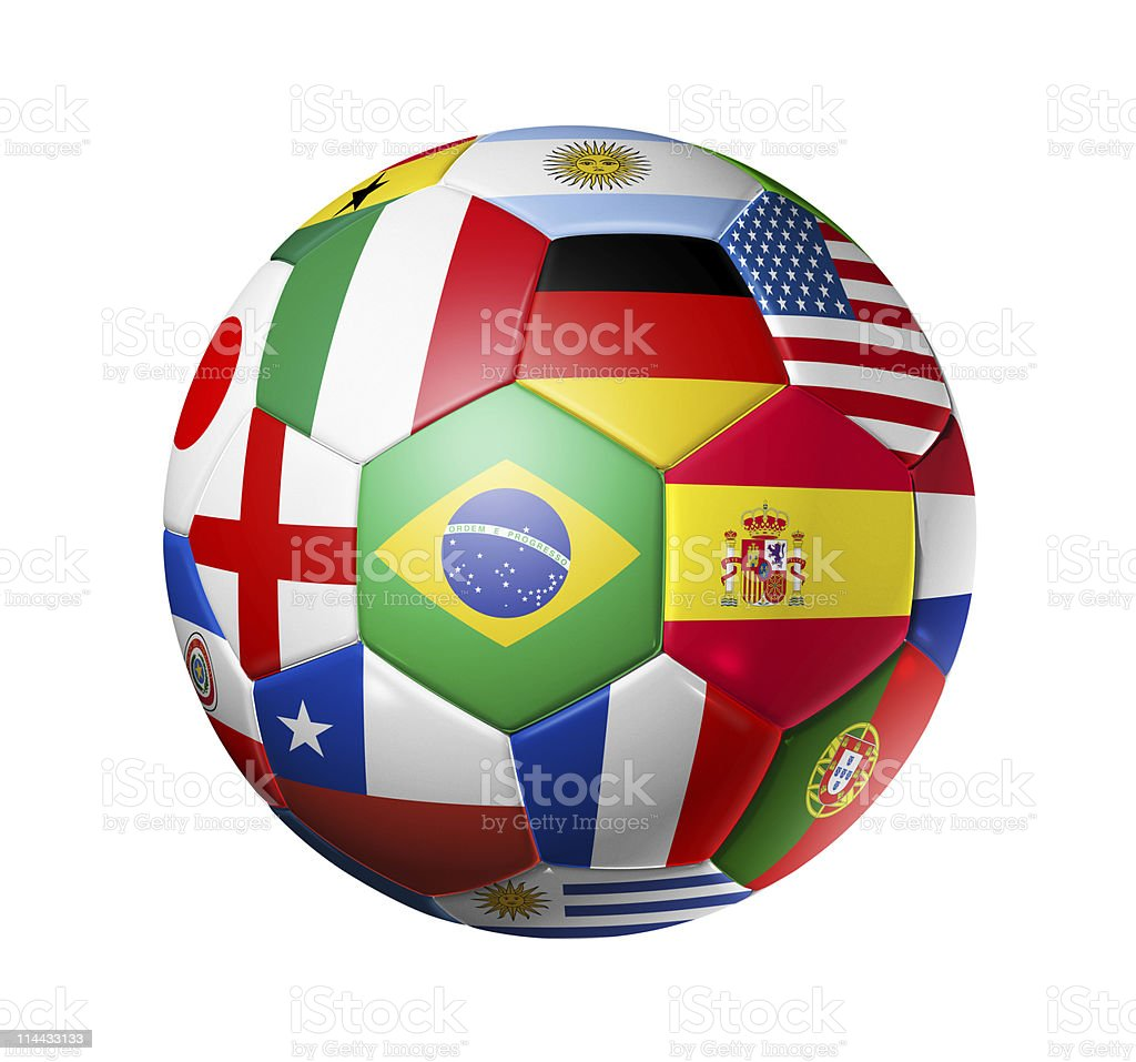 Football soccer ball with world teams flags royalty-free stock photo