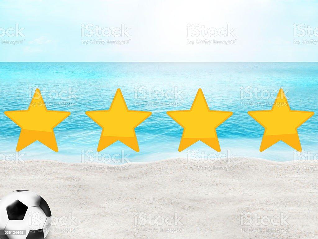 Football soccer beach sunny ocean 3D background stock photo