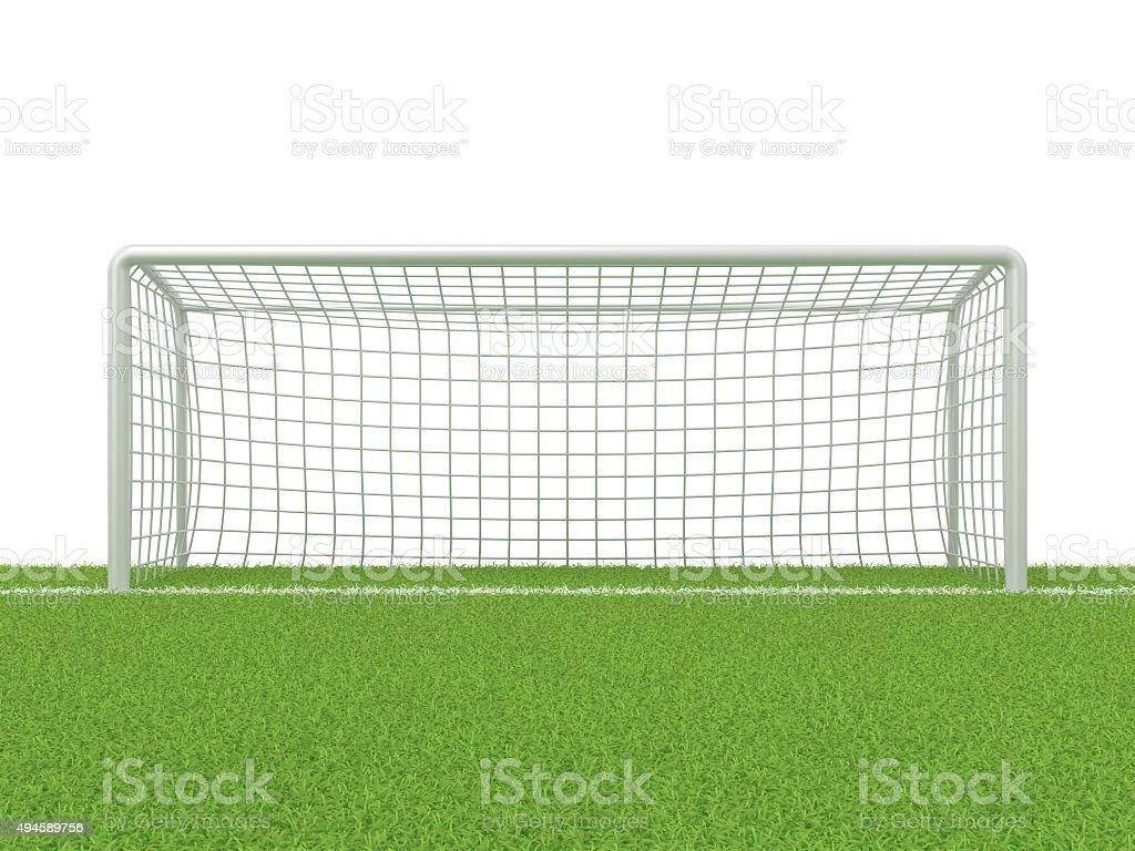 Football - soccer gate on grass. 3D render stock photo