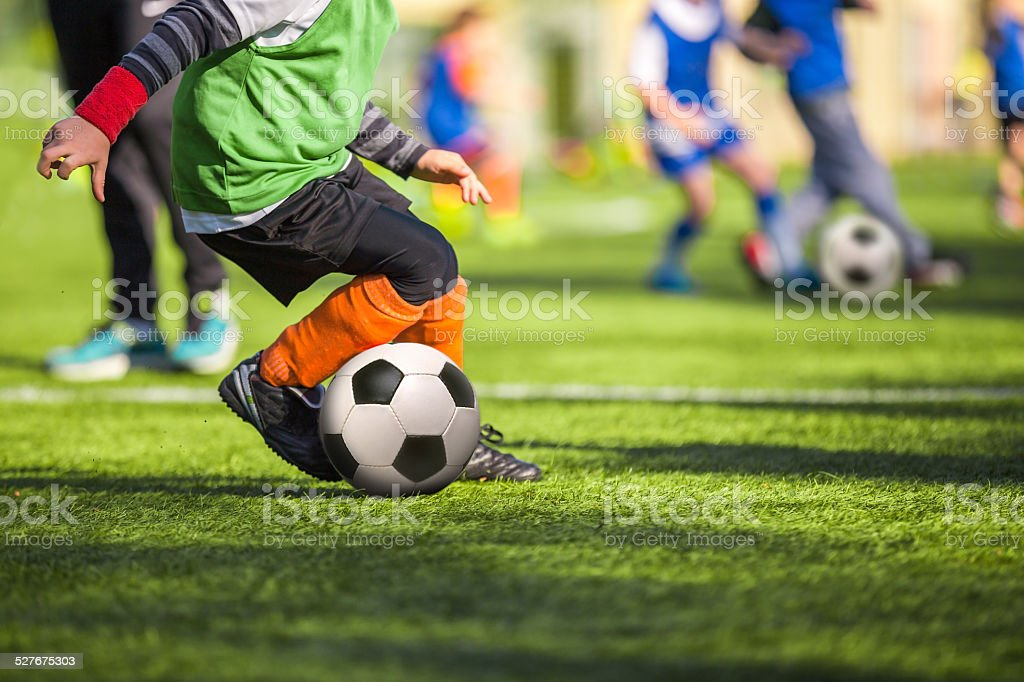 football soccer training for children stock photo