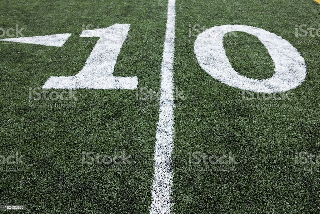 Football stadium 10 yard line artificial grass and markings royalty-free stock photo