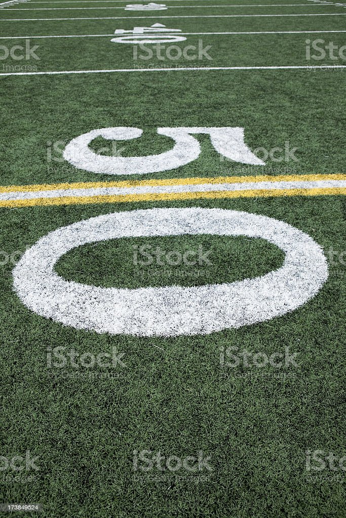 Football stadium 50 yard line artificial grass and markings stock photo