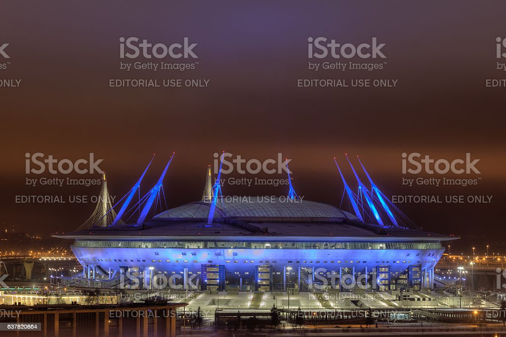 Football Stadium At Night for 2018 FIFA World Cup Russia. stock photo
