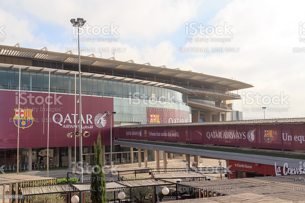 Football stadium Camp Nou outside in Barcelona stock photo