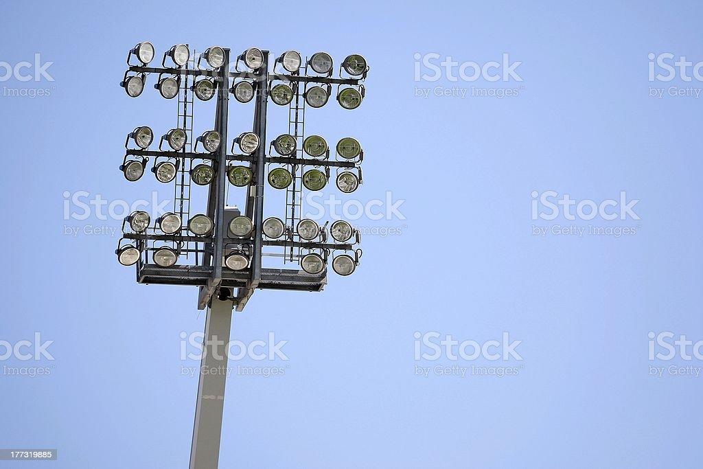 Football stadium floodlights stock photo