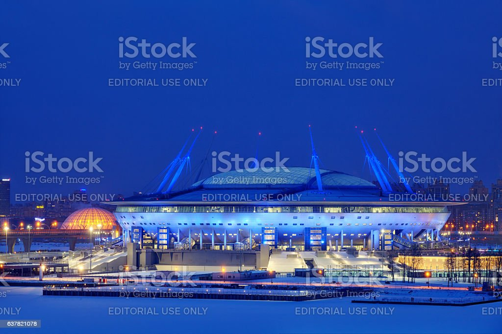 Football Stadium in St. Petersburg, Russia for Soccer World Cup. stock photo