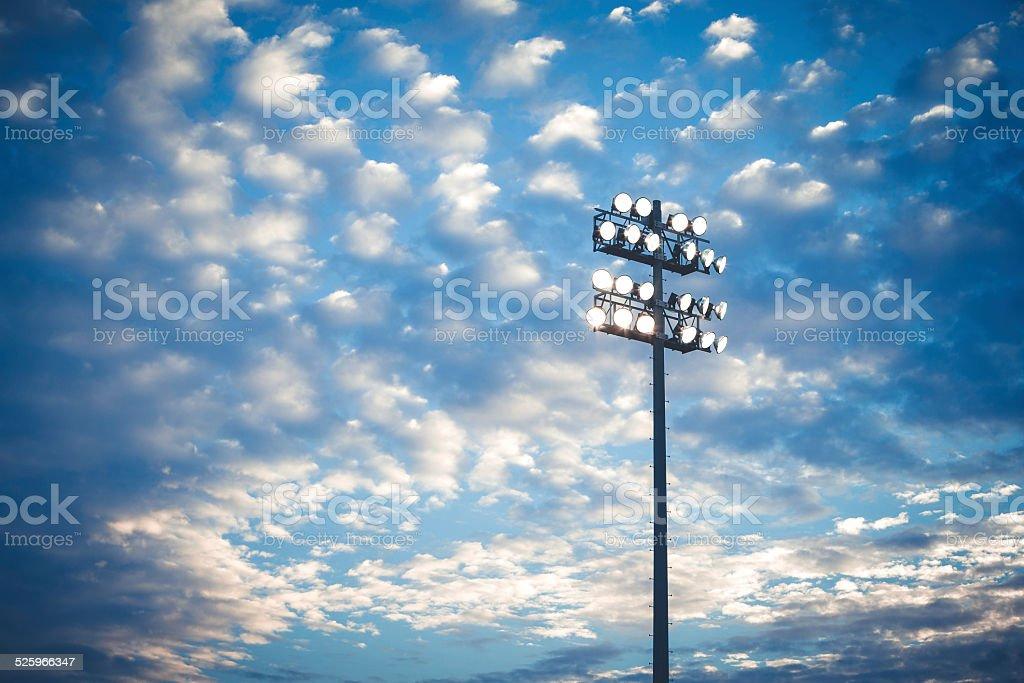 Football stadium lights stock photo