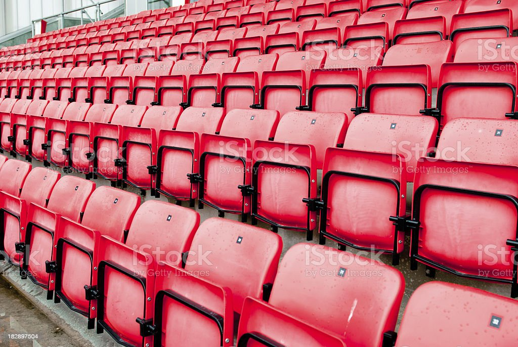 football stadium red seats in norway royalty-free stock photo