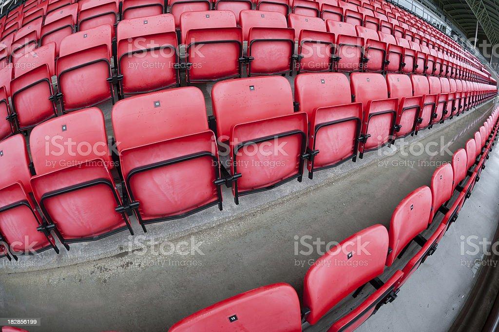 football stadium seats with fish-eye lens royalty-free stock photo