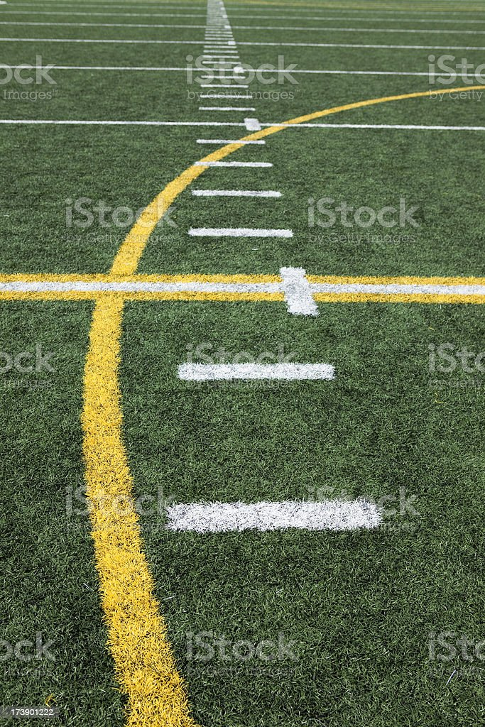 Football stadium sports venue artificial grass and markings stock photo
