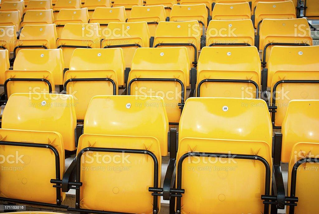 football stadium yellow seats in norway royalty-free stock photo