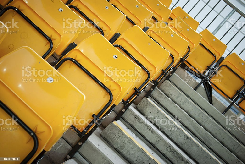 football stadium yellow seats in norway royalty-free stock photo