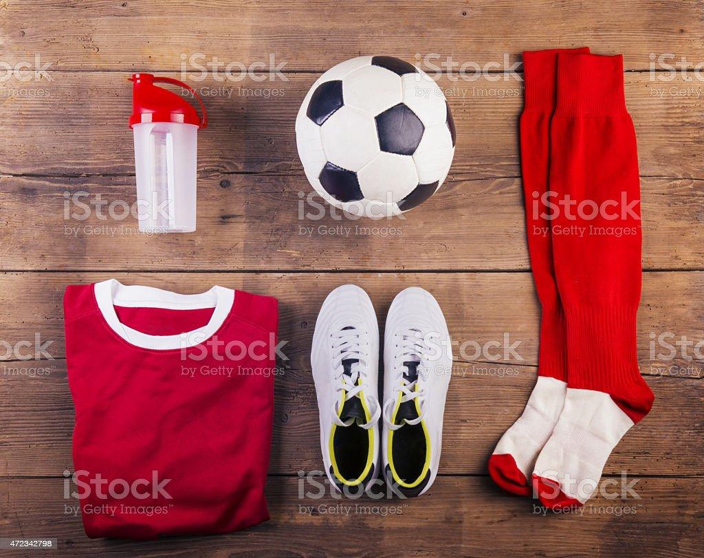 Football stuff on the floor stock photo