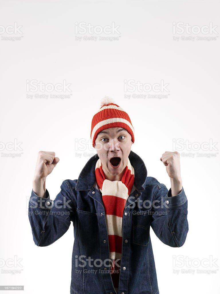 Football supporter celebrating royalty-free stock photo